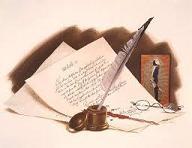 Imagen de una carta con una pluma y un tintero