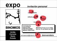 Invitación a la exposición Binomios en la Biblioteca P. de la Luz, febrero 2009