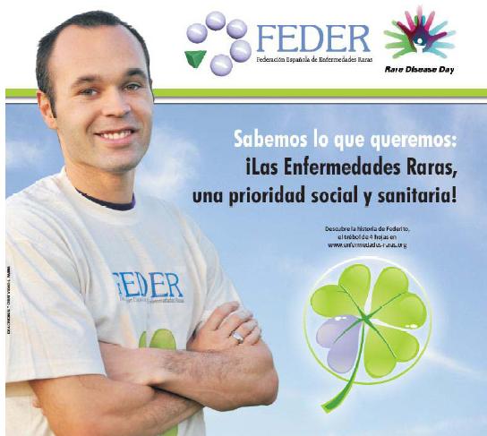 Imagen del jugador Andrés Iniesta en el Dia de las Enfermedades Raras