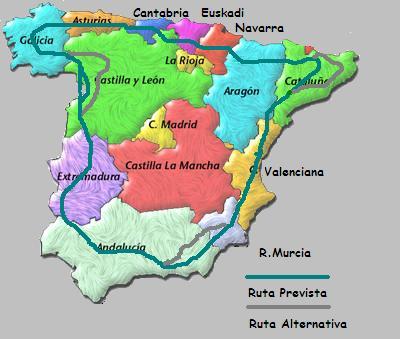 Mapa por donde discurrirá la vuelta a caballo de Angel Martínea