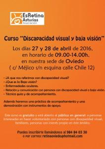 """Cartel curso """"Discapacidad visual y baja visión"""""""