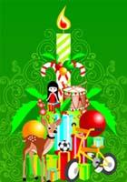 tarjeta naviedeña con una vela en fonod verde