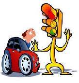 Comic de un peatón con un semaforo en rojo y un coche