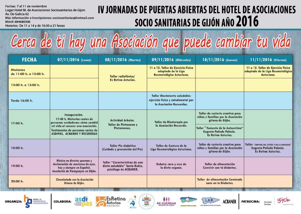 Cartel IV Jornadas de Puertas Abiertas del Hotel de Asociaciones Sociosanitarias