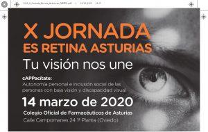 cartel 10ª jornada Es retina Asturias . Tu visión nos une